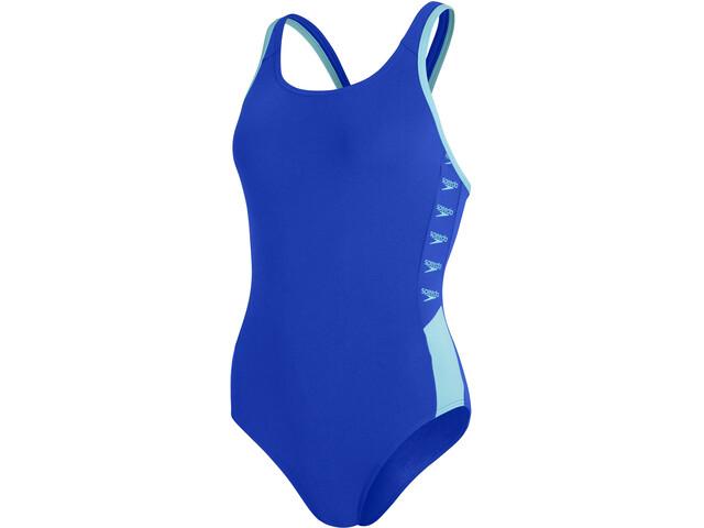 speedo Boom Logo Splice Muscleback Swimsuit Women, blue flame/light adriatic
